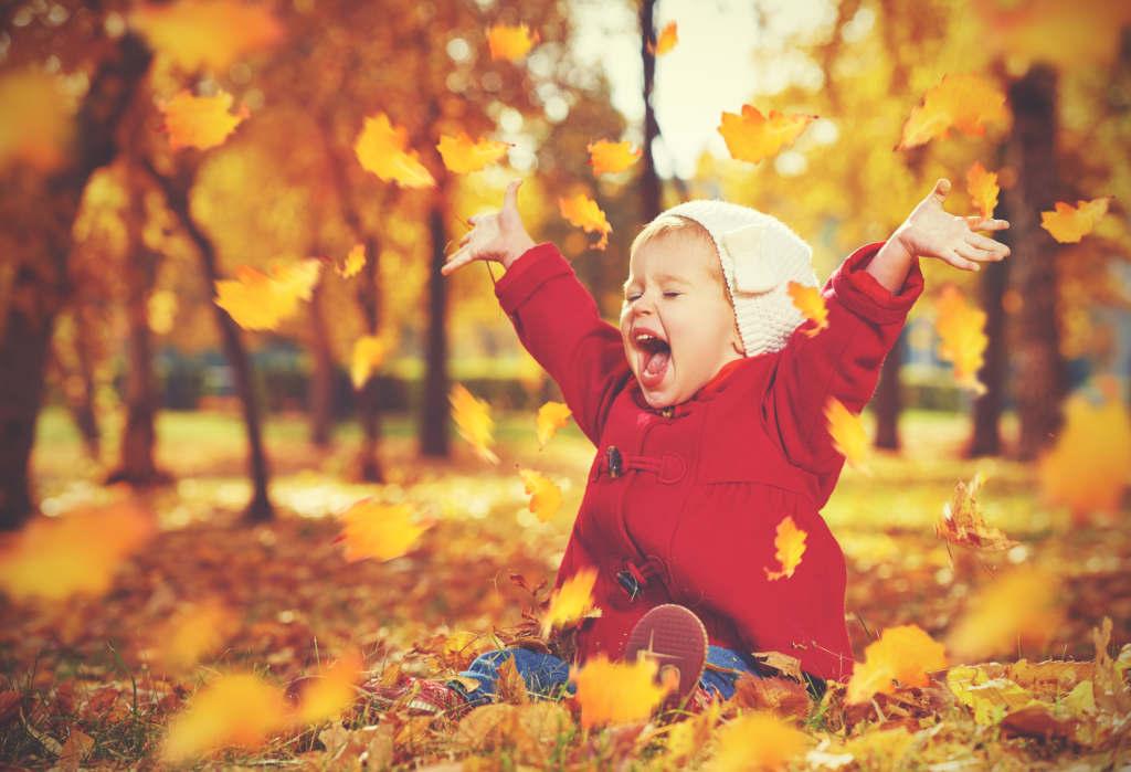 Dziecko siedzące na liściach w parku