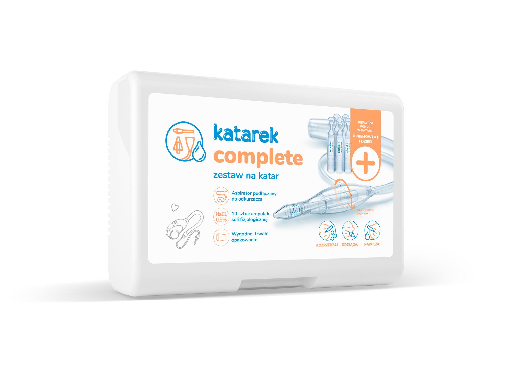 Aspirator Katarek Complete - odciągacz kataru w zestawie z solą fizjologiczną